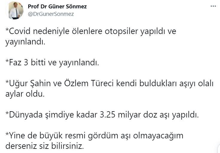 Prof. Dr. Güner Sönmez'den aşı paylaşımı: Büyük resmi gördüm aşı olmayacağım derseniz...