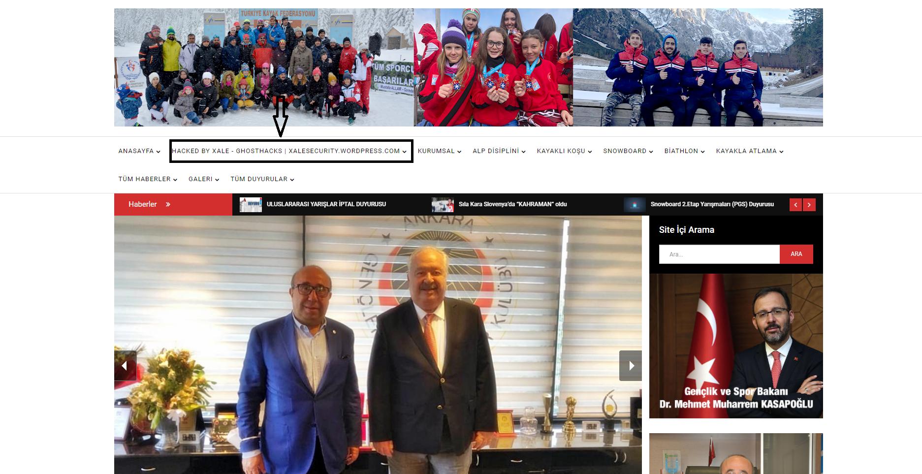 GhostHacks'in kurucusu Xale, Türkiye Kayak Federasyonu'nun internet sitesini hackledi
