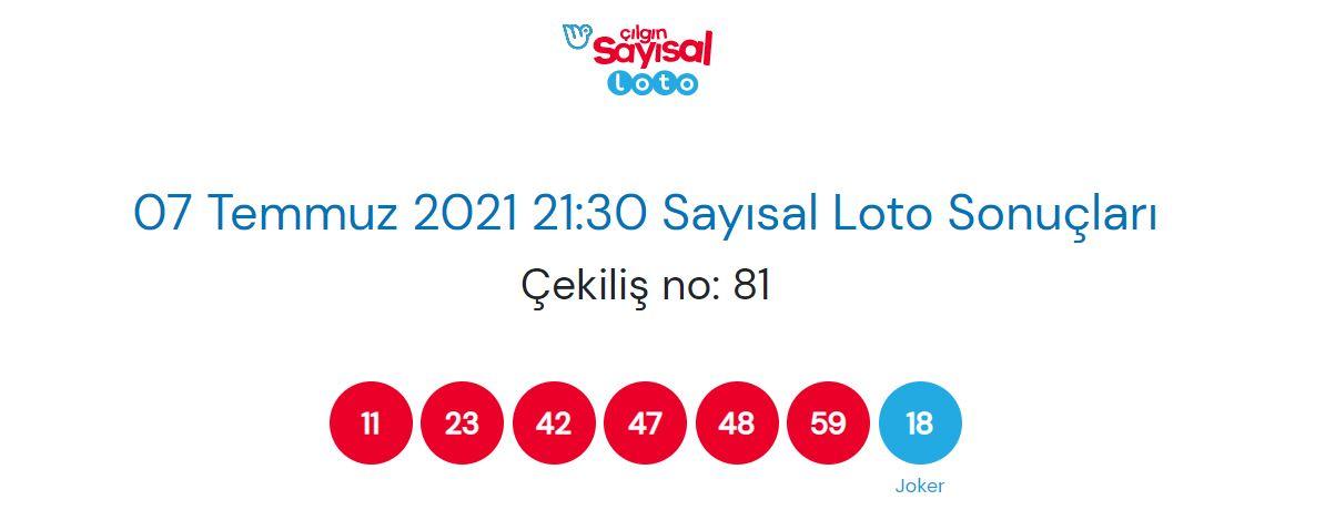 7 Temmuz 2021 Çarşamba Çılgın Sayısal Loto sonuçları | Çılgın Sayısal Loto Sonuç sorgulama ekranı