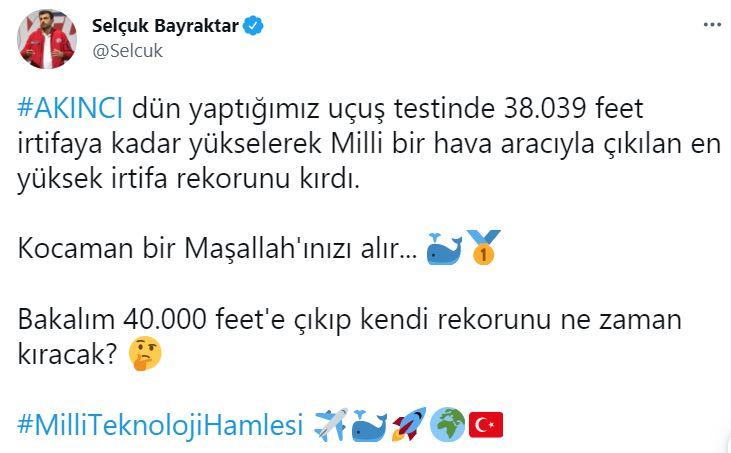 Milli teknoloji hamlesi! Bayraktar AKINCI TİHA Türk havacılık tarihinin irtifa rekorunu kırdı!