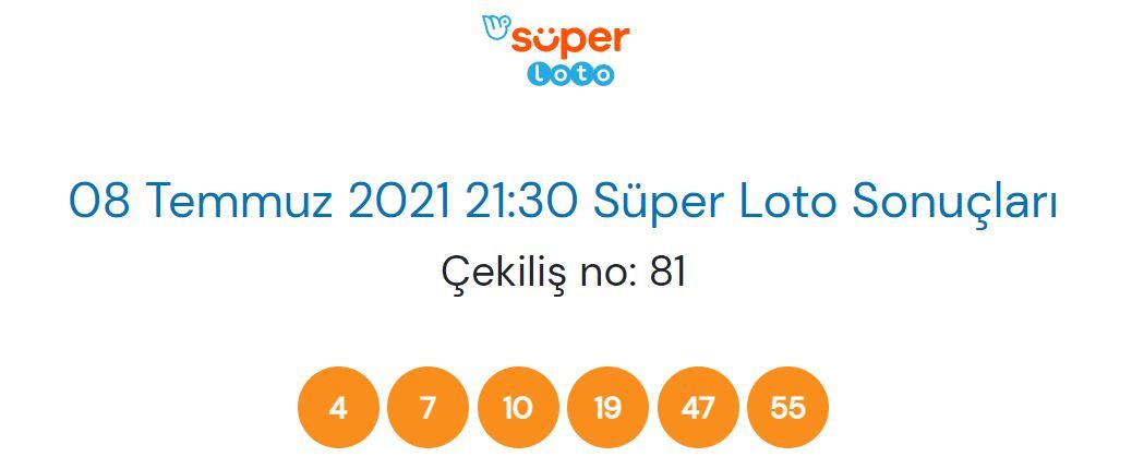 8 Temmuz 2021 Perşembe Süper Loto çekiliş sonucu sorgulama