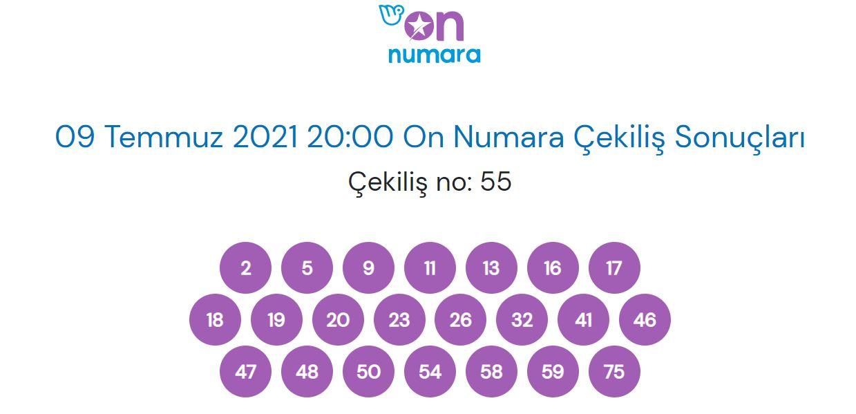 9 Temmuz 2021 Cuma On Numara çekiliş sonuçları