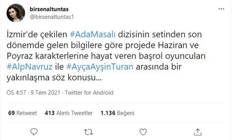 Dizi aşkı daha gerçek mi oldu? Ada Masalı'nın yıldızları Ayça Ayşin Turan ve Alp Navruz'un birlikte olduğu iddia edildi!