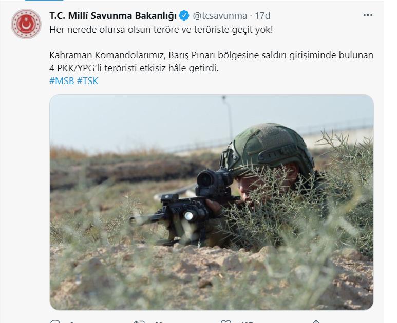 SON DAKİKA | MSB: Hain saldırı girişimi son anda engellendi: 4 PKKlı terörist etkisiz hale getirildi