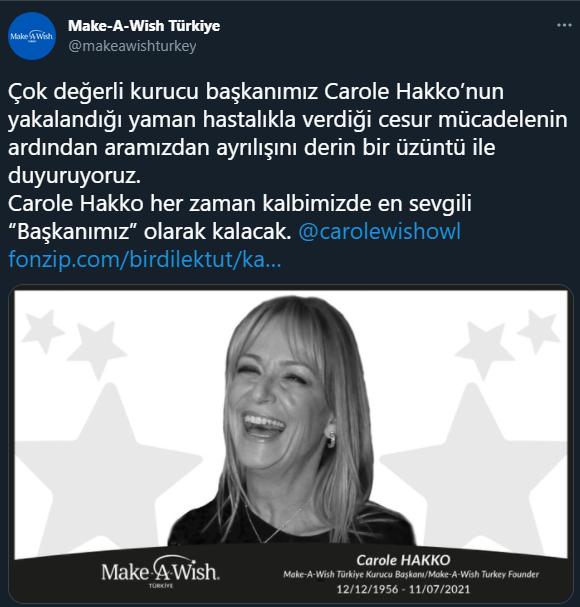 Kanserle savaşını kaybetti! Bir Dilek Tut-Make A Wish derneğinin başkanı Carole Hakko yaşamını yitirdi!