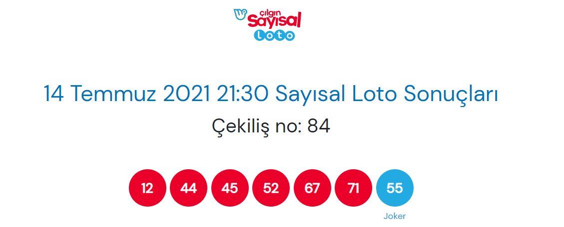 Çılgın Sayısal Loto sonuçları 14 Temmuz 2021 Çarşamba   Çılgın Sayısal Loto Sonuç sorgulama ekranı