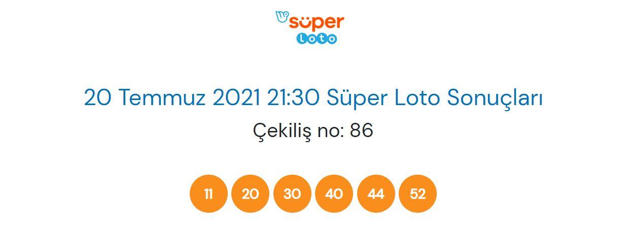 20 Temmuz 2021 Salı Süper Loto çekiliş sonucu sorgulama