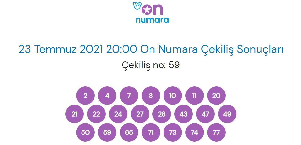 23 Temmuz 2021 Cuma On Numara çekiliş sonuçları