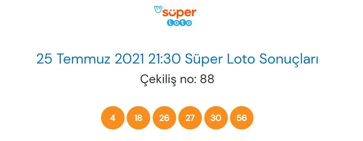 Süper Loto sonuçları 25 Temmuz 2021 Pazar | 25.07.2021 Süper Loto Sonuç sorgulama ekranı