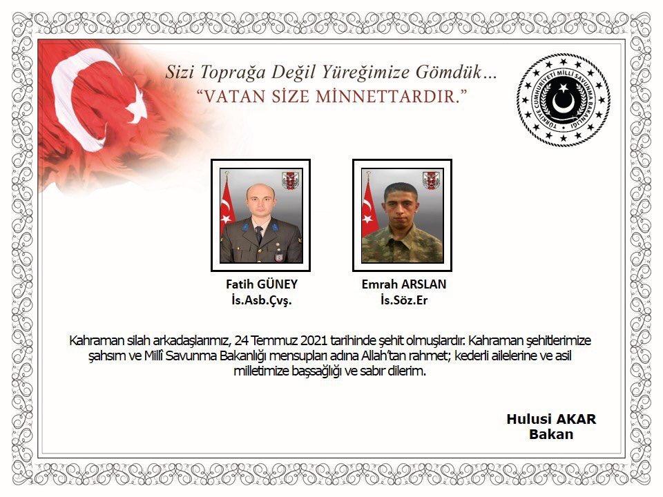 Son dakika   Bakan Akar açıkladı, şehitlerin kanı yerde kalmadı: 2 askerin şehit olduğu saldırı sonrası 12 terörist öldürüldü