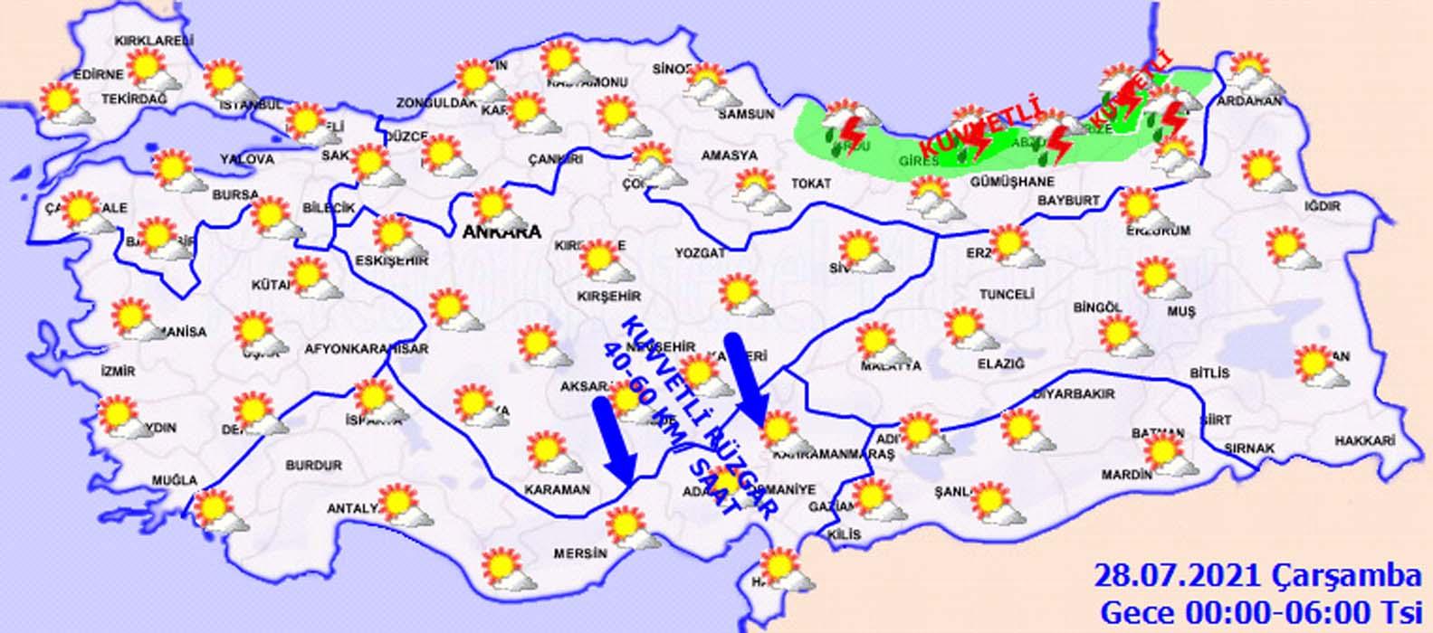 27 Temmuz Salı İstanbul, İzmir, Ankara hava durumu: Bugün hava nasıl olacak? Sağanak yağış ve kuvvetli rüzgar uyarısı