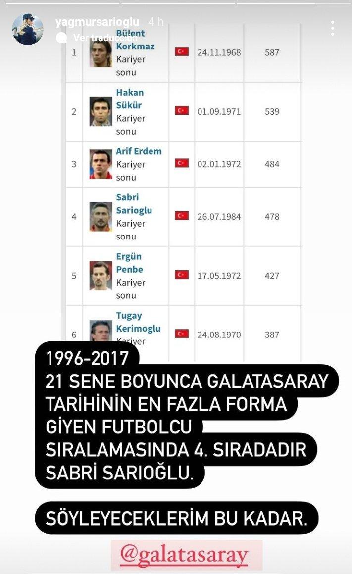 Sabri Sarıoğlu'nun eşi Yağmur Sarıoğlu Galatasaray'a sitem etti!