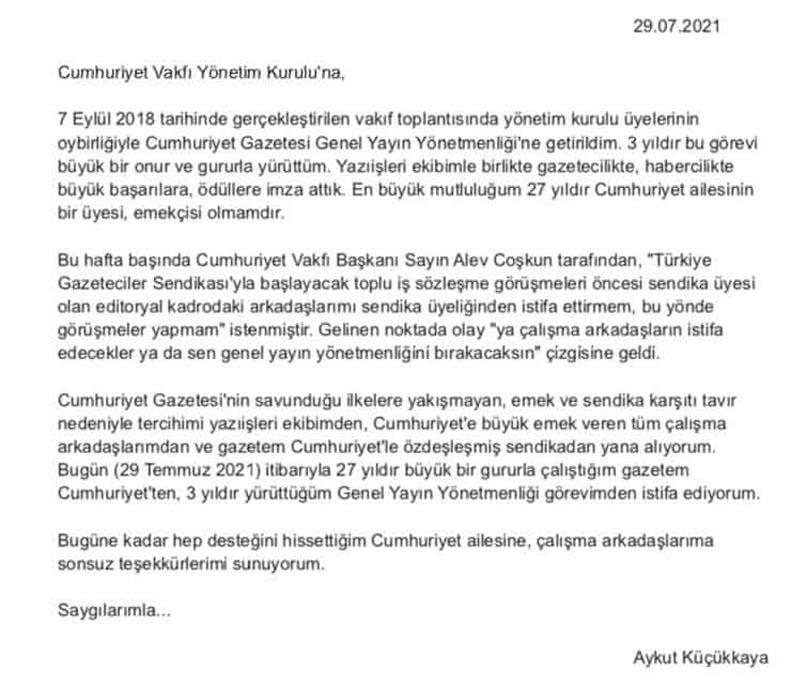 Cumhuriyet Gazetesi'nde 'sendika' kavgası istifa getirdi Aykut Küçükkaya Genel Yayın Yönetmenliği görevini bıraktı