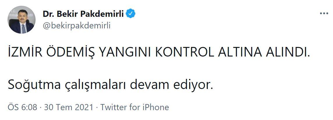 Son dakika   Bakan Pakdemirli açıkladı: Bingöl Kiğı ile İzmir Ödemiş yangını kontrol altına alındı