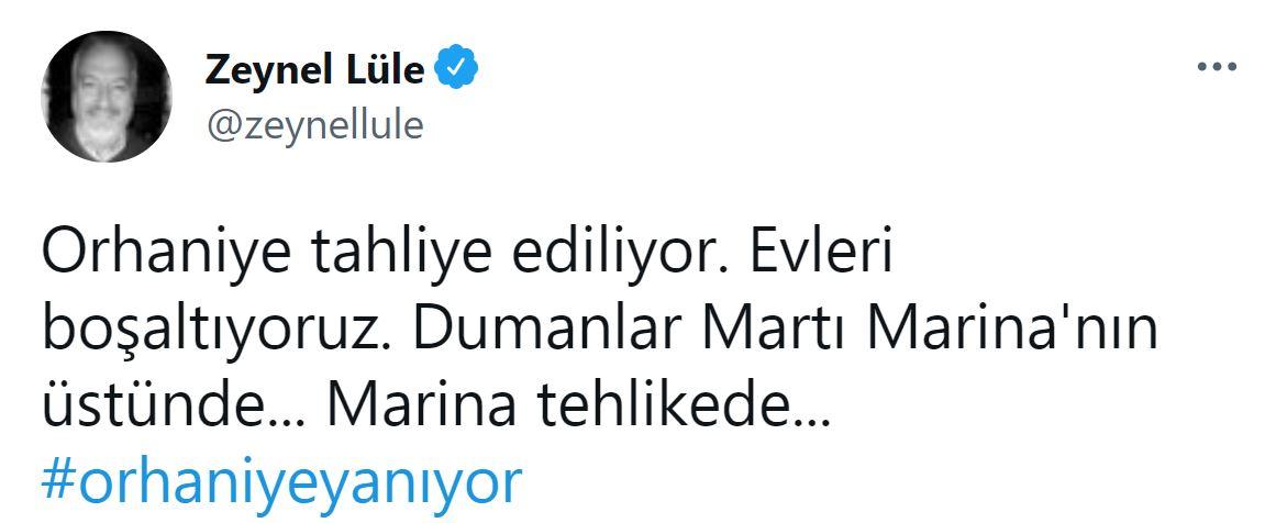 Gazeteci Zeynel Lüle'den flaş paylaşım: Orhaniye tahliye ediliyor