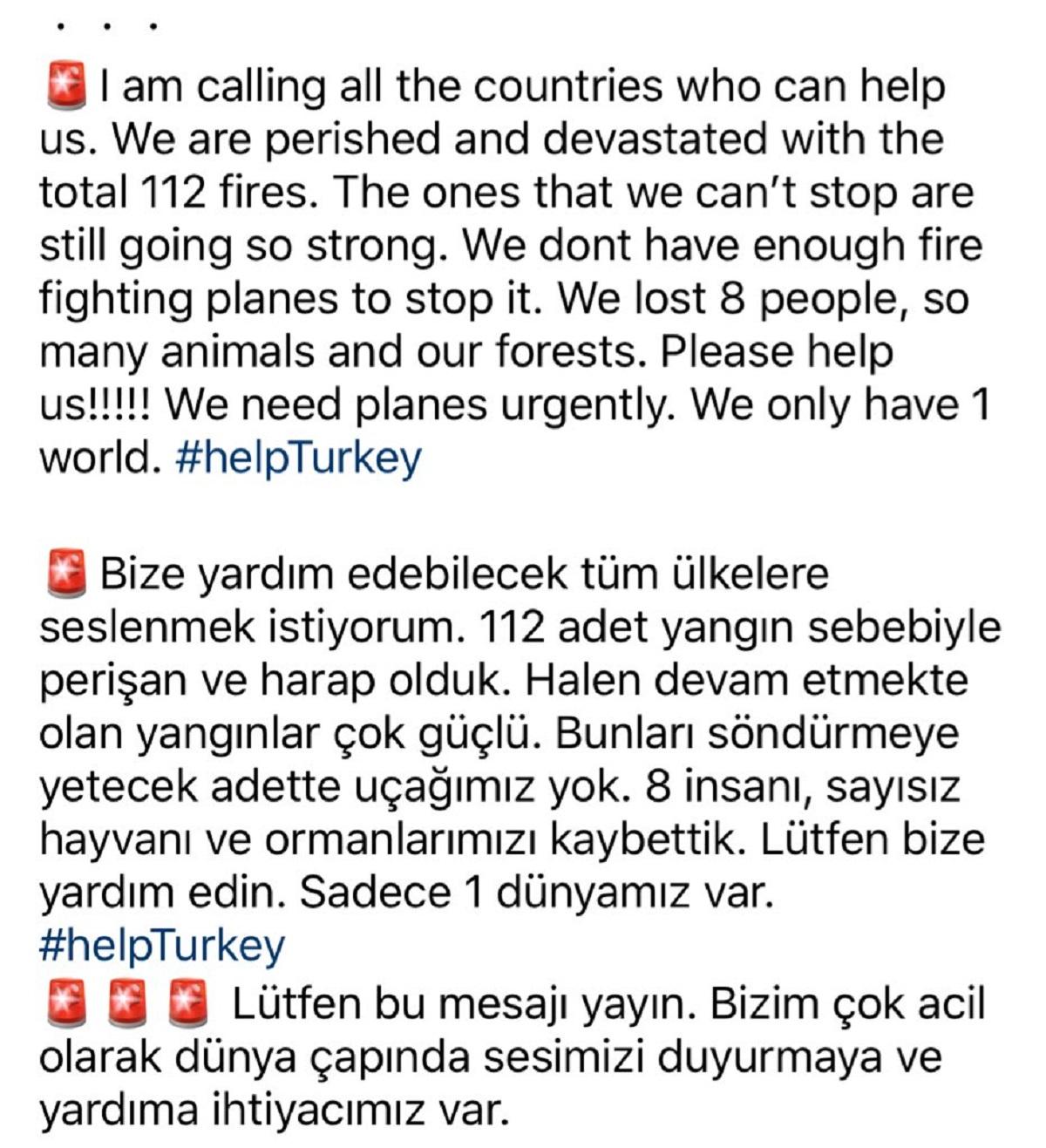 Vatandaşlar orman yangınlarıyla mücadelede dünyadan destek istiyor! #helpturkey sosyal medyada dünya gündemine girdi