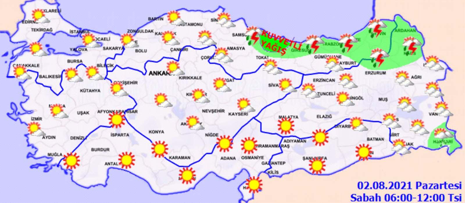 Meteoroloji Genel Müdürlüğü, su baskınlarına karşı uyardı! İşte 2 Ağustos Pazartesi hava durumu...