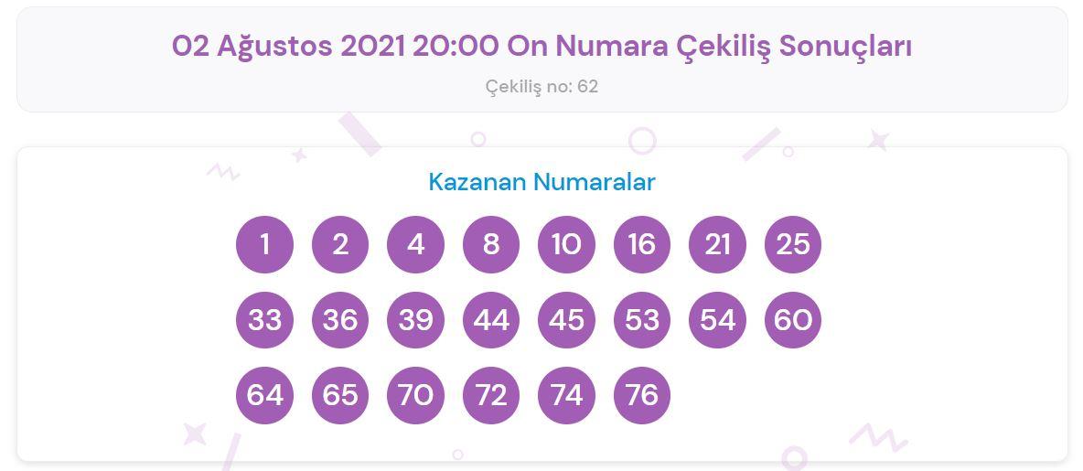 2 Ağustos 2021 Pazartesi On Numara çekiliş sonuçları