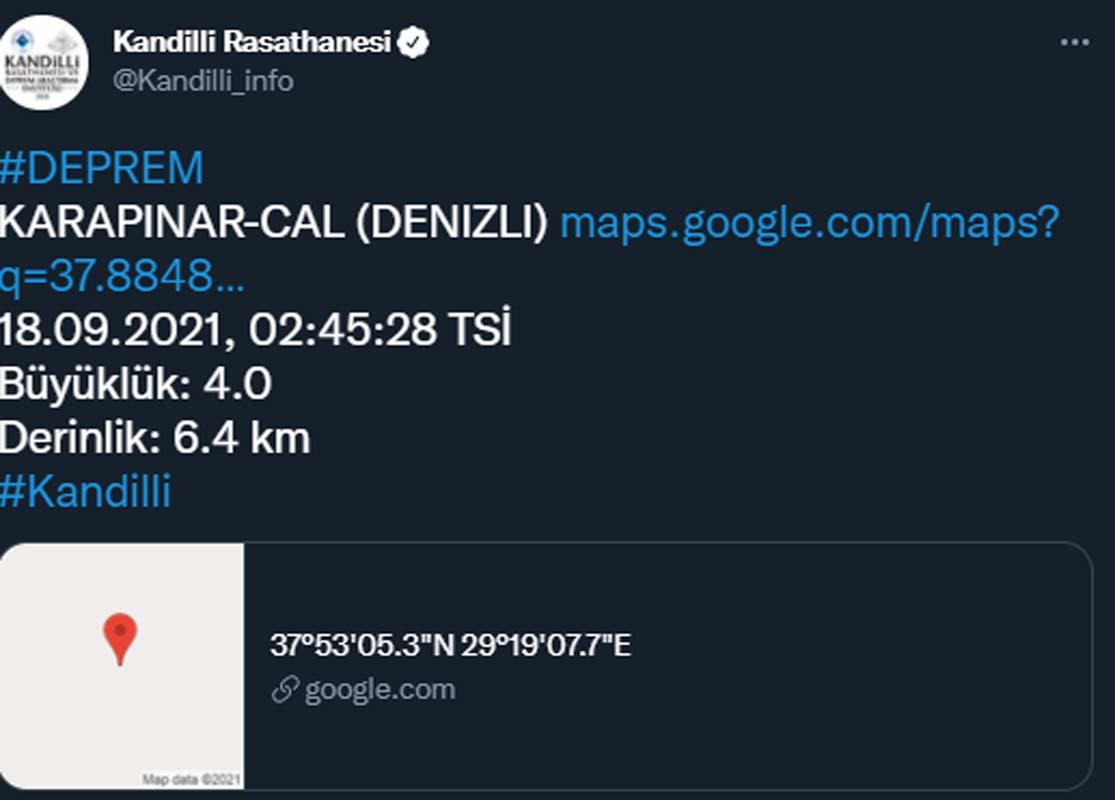 Denizli gece 3.8 büyüklüğünde depremle sallandı!