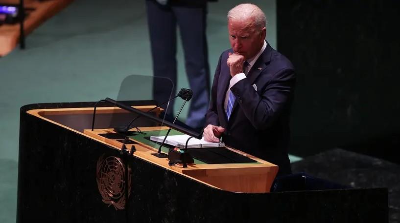 Joe Biden konuşurken salonda İsrail'e dair dikkat çeken görüntü!