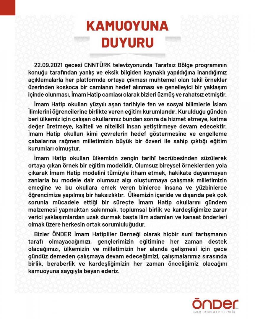 ÖNDER İmam Hatipliler Derneği, Cübbeli Ahmet'in yaptığı açıklamalara tepki gösterdi!