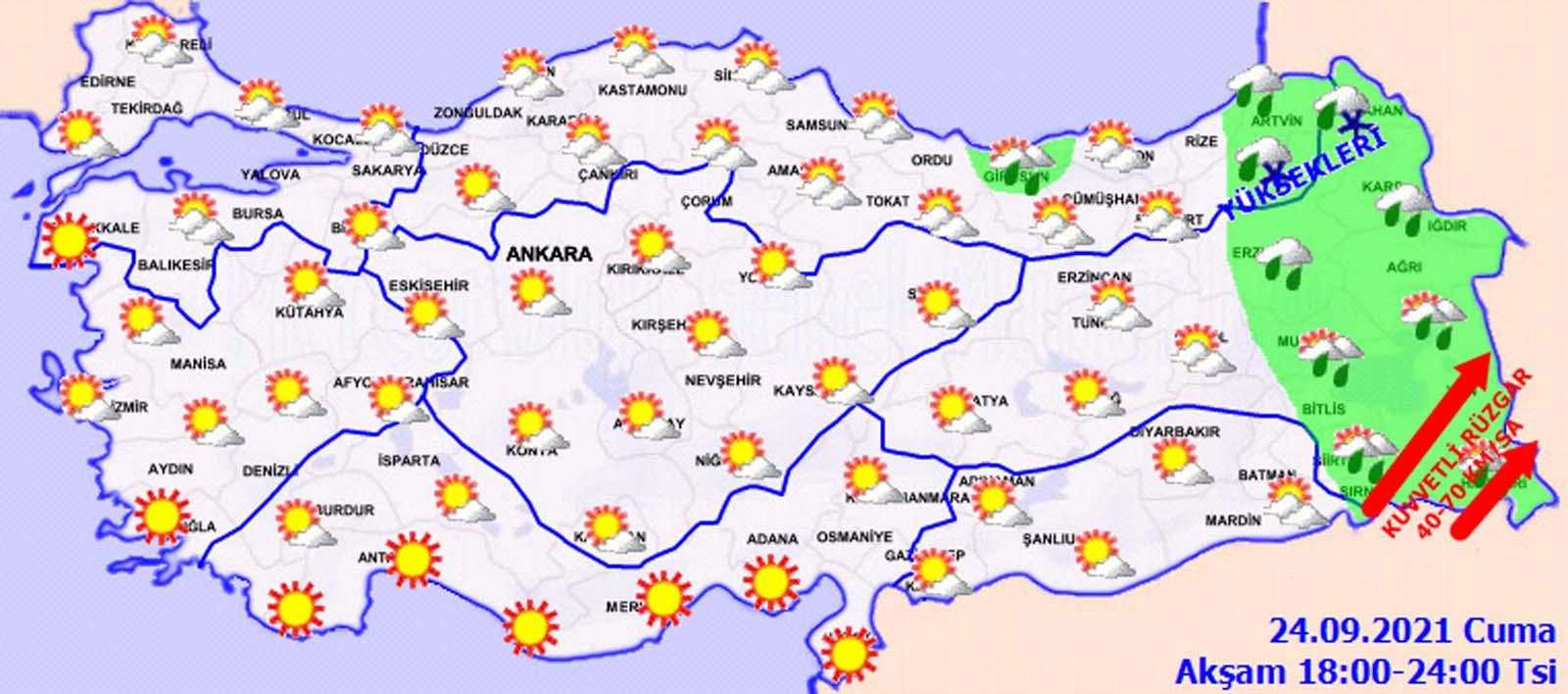 24 Eylül 2021 Bugün hava nasıl olacak? Meteoroloji uyardı: Zirai don tehlikesine dikkat!