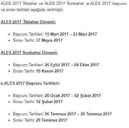 Ales Sonbahar Sinavi 2017 Ales Sinav Tarihi
