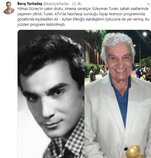Süleyman Turan'ın neden öldüğü belli
