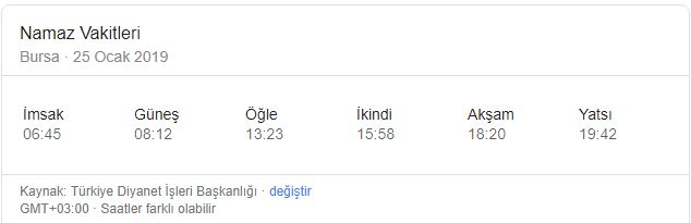 Bursa'da Cuma namazı kaçta? Cuma ezanı kaçta okunuyor? (25 Ocak 2019)