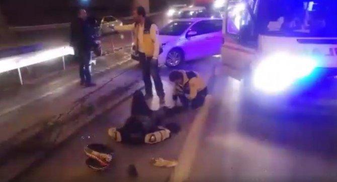 Ters yönden gelen cip motosikletliye çarpıp kaçtı