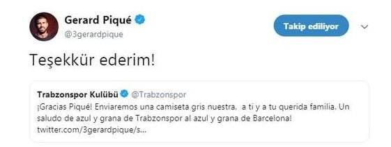 Gerard Pique Trabzonspor'a teşekkür etti