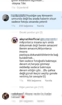 Aleyna Tilki'den takipçisine sert cevap