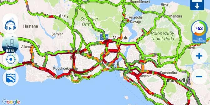 İstanbul'da trafik yoğunluğu yüzde 63'e çıktı