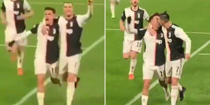 Ronaldo gol sevincini takım arkadaşı Dybala ile dudak dudağa kutladı!