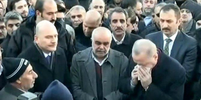 Cumhurbaşkanı Erdoğan cenaze namazında gözyaşlarına engel olamadı