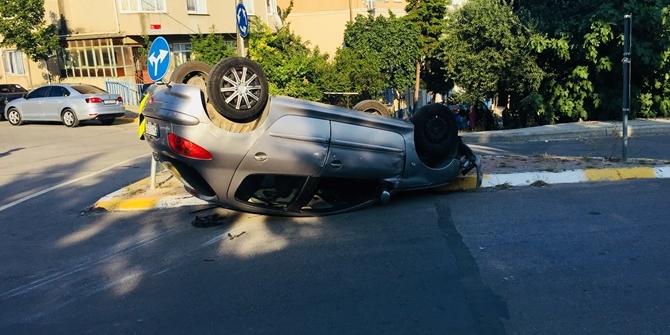 Aşırı hız mahalle arasında takla attırdı!
