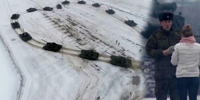 16 tane tankla yere resmetti! Sevgilisi havalara uçtu