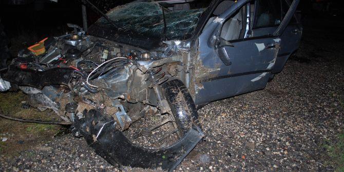 Tekirdağ'da korkunç kaza: Otomobil paramparça oldu