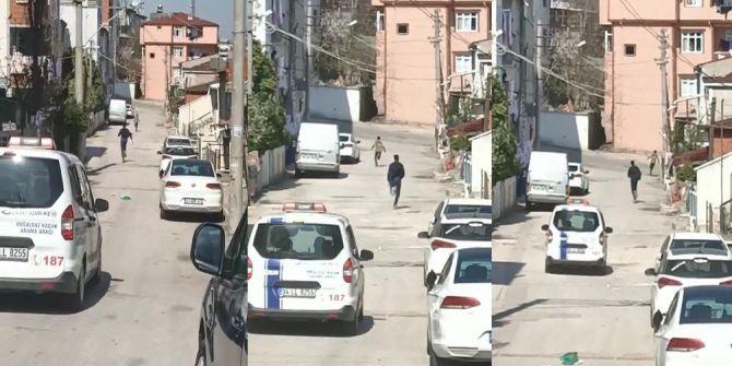 Doğalgaz dağıtım aracını polis aracı sanan gençler, Usain Bolt'u aratmadı