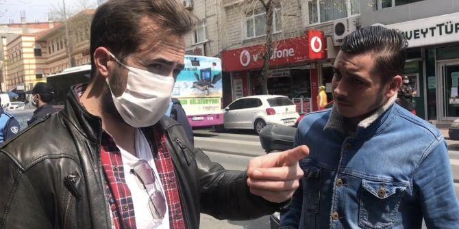 Denetimdeki polisten maskesiz gence uyarı: ''Suriyelilere virüs bulaşmıyor mu?''