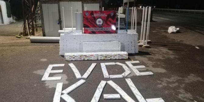Erzurum'da sosyal mesafeli kaçak sigara operasyonu!