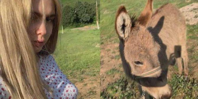 Aleyna Tilki arkadaşı olan eşeği takipçileriyle paylaştı!