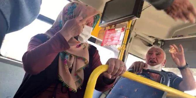 Özel Halk Otobüsünde tartışma! Şoför yaşlı çifti güçlükle indirdi