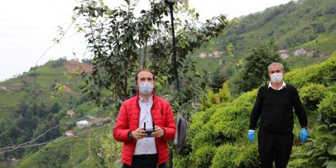 Rize'de muhtar drone ile maske dağıttı! Görenler şaştı, kaldı