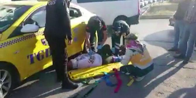 Tuzla'da korkunç kaza! Yolun karşısına geçmek isteyen kadına taksi çarptı