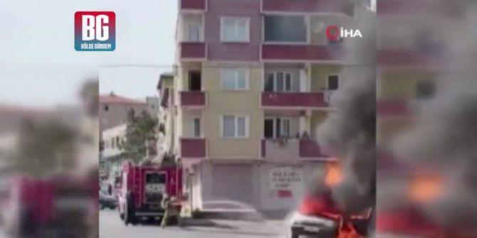 Sultanbeyli'de seyir halindeki otomobil alev alev yandı!
