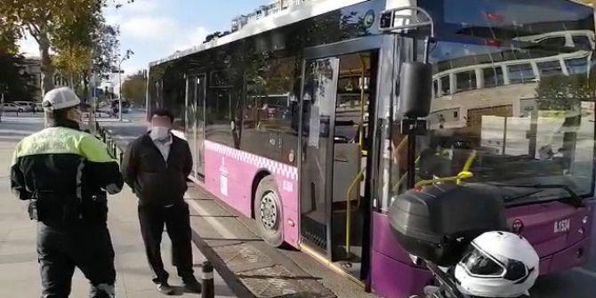 Koronalı İETT şoföründen şok görüntüler! Sefer yaptığı sırada polise yakalandı
