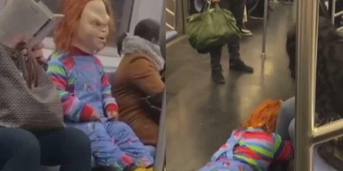 Chucky metroda dehşet saçtı! İşin aslı sonradan ortaya çıktı